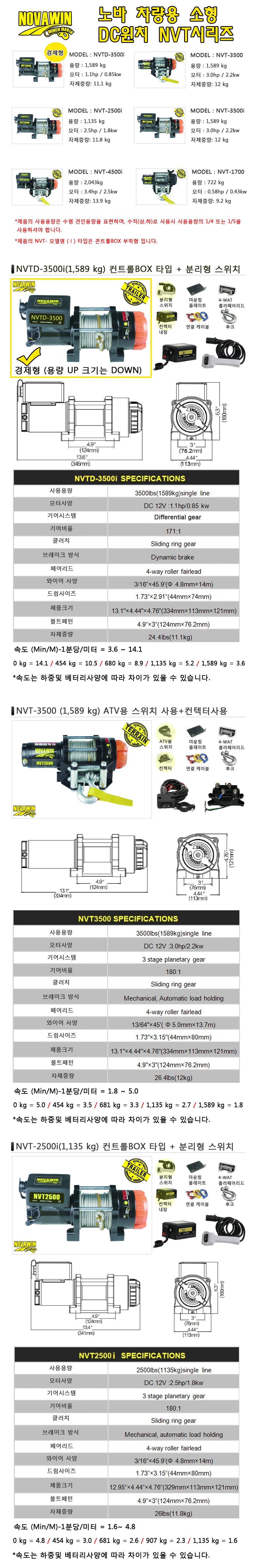 (주)쌍용리프트 초소형 베터리윈치 NVT 시리즈 NVTD / NVT Series