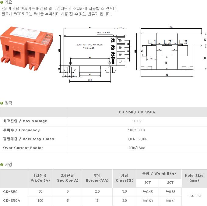 (주)대붕이앤씨 3상 계기용 변류기 CD-Series 9