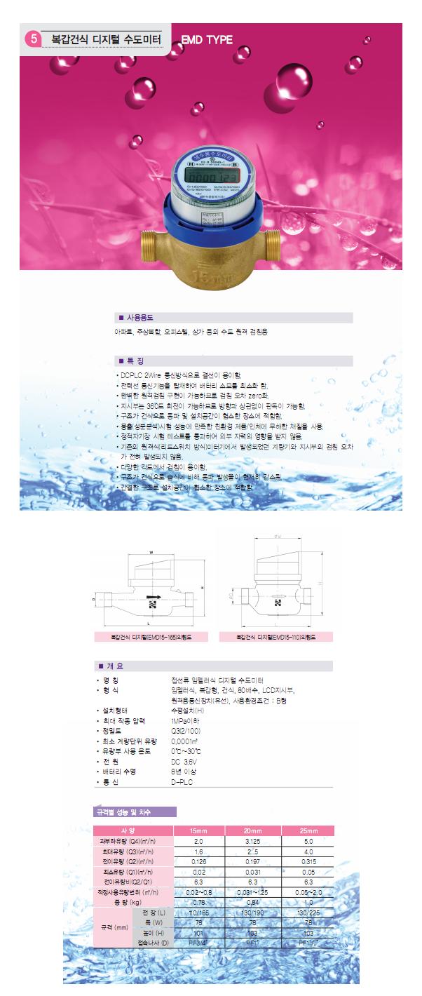HANSEO Precision Meter Co., Ltd. 복갑건식 디지털 수도미터 EMD15-165/110