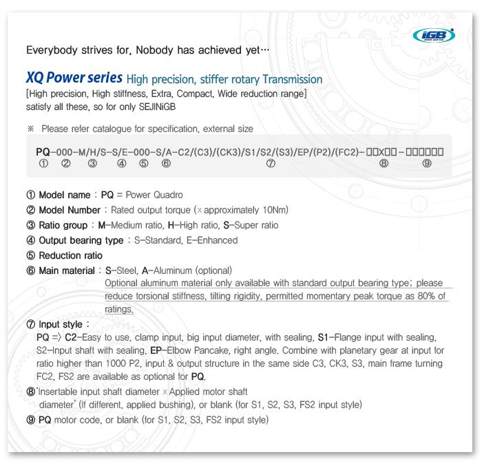 SEJIN IGB Soild type high precision transmission PQ Series