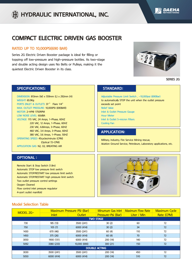 DAEHA Compact Electric Driven Gas Booster