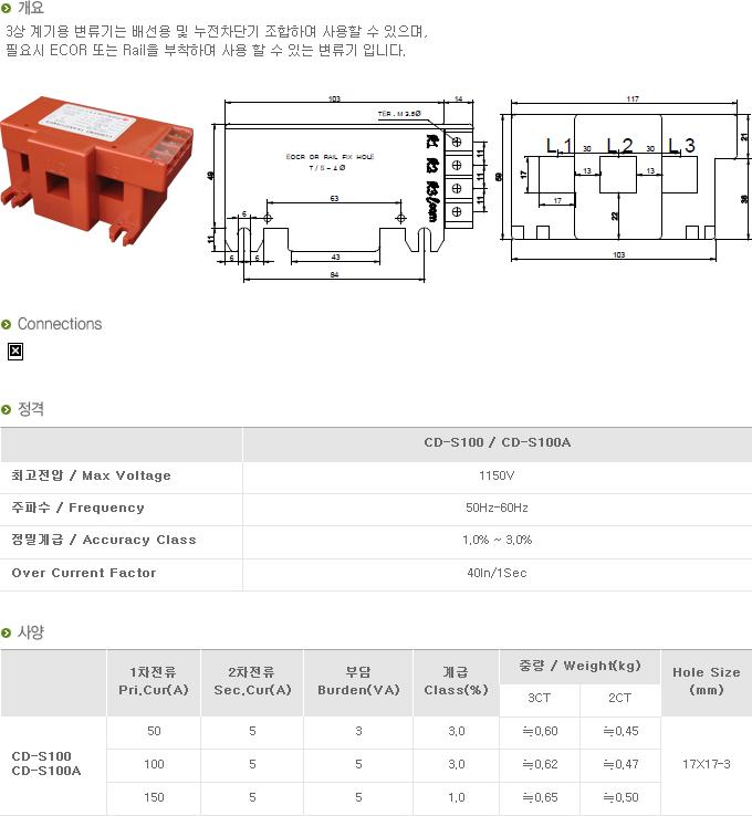 (주)대붕이앤씨 3상 계기용 변류기 CD-Series 10