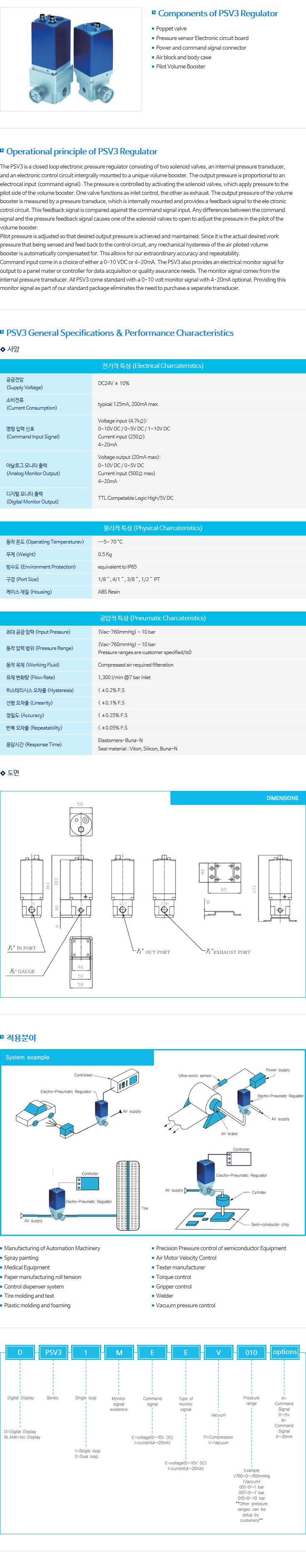 (주)비앤비테크놀러지 대유량 공압비례 서보밸브 PSV3 Series