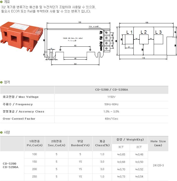 (주)대붕이앤씨 3상 계기용 변류기 CD-Series 11