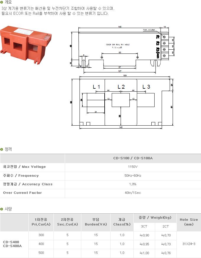 (주)대붕이앤씨 3상 계기용 변류기 CD-Series 12