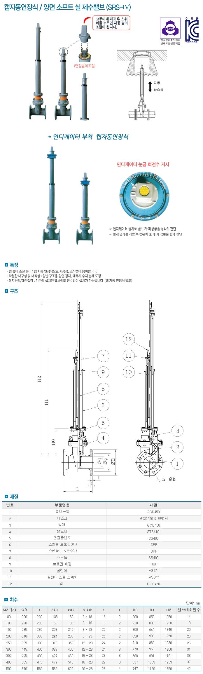 (주)신진정공 캡자동연장식 / 양면 소프트 실 제수밸브 SRS-IV
