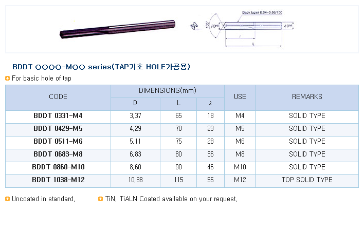 HK-TOOLS For basic hole of Tap BDDT Series