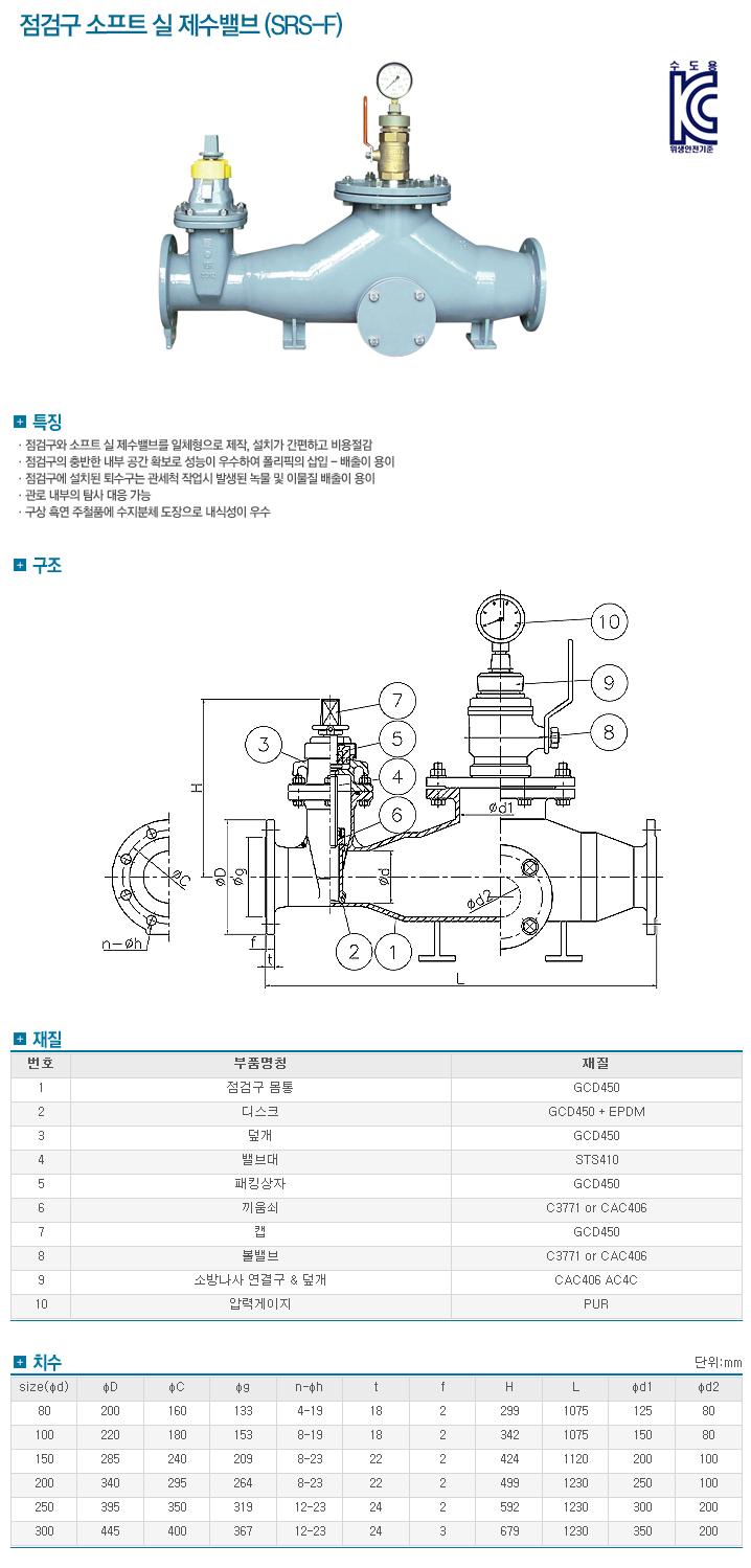 (주)신진정공 점검구 소프트 실 제수밸브 SRS-F
