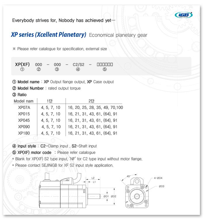 SEJIN IGB Planetary gear XP-S2 Series