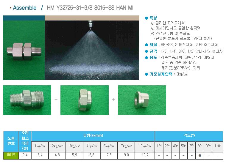 (주)한미노즐ENG  HM Y32725-31-3/8 8015-SS HAN MI