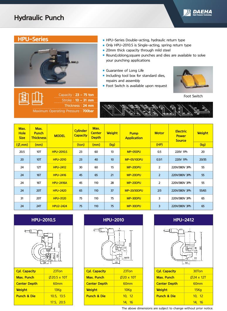 DAEHA Hydraulic Punch HPU-2010.S, HPU-2010, HPU-2412, HPU-2416, HPU-2416A, HPU-2420, HPU-3120, HPU-2424