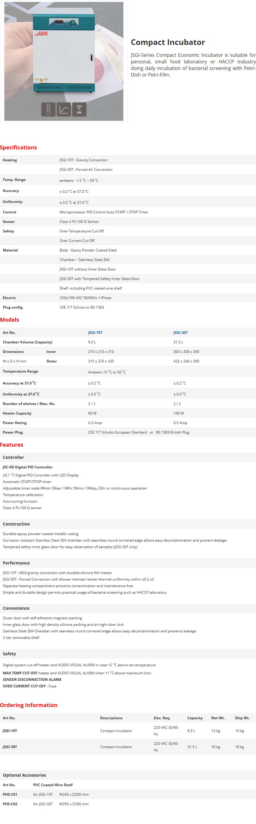 JS Research Compact Incubator JSGI-10T/30T