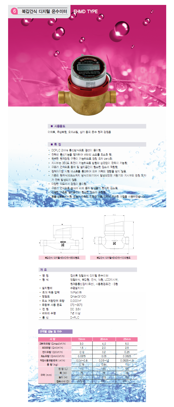 HANSEO Precision Meter Co., Ltd. 복갑건식 디지털 온수미터 HEMD15-165/110