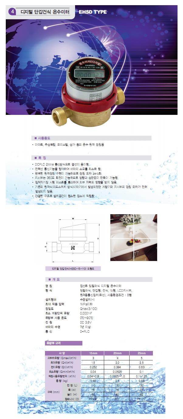 HANSEO Precision Meter Co., Ltd. 디지털 단갑건식 온수미터 HESD-15-110