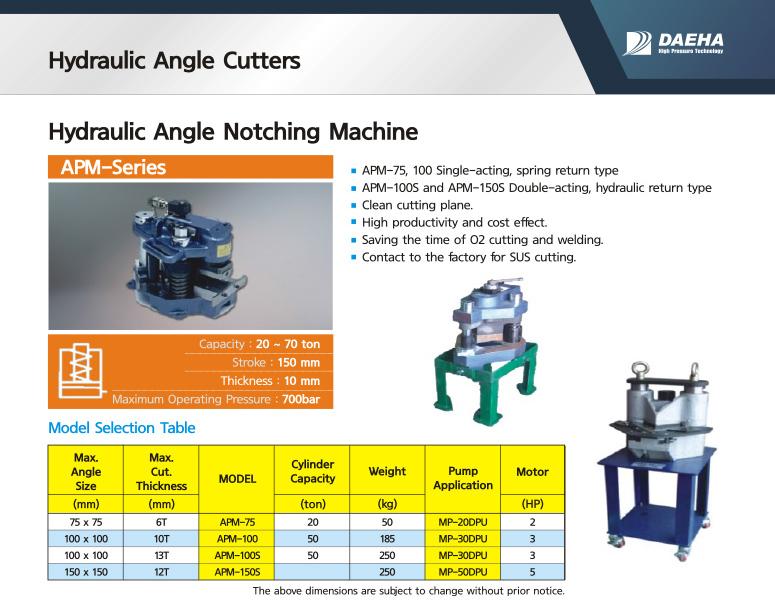 DAEHA Hydraulic Angle Notching Machine APM-75, APM-100, APM-100S, APM-150S
