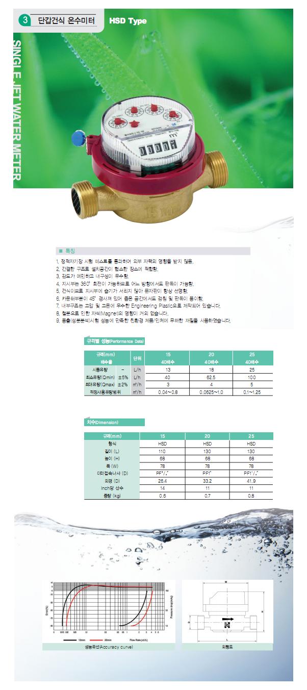 HANSEO Precision Meter Co., Ltd. 단갑건식 온수미터 HSD