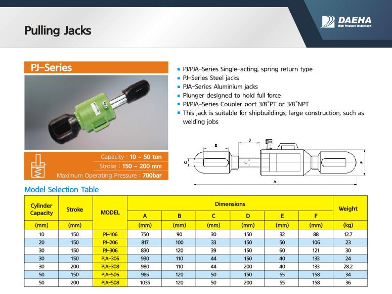 DAEHA Pulling Jacks PJ-106, PJ-206, PJ-306, PJA-306, PJA-308, PJA-506, PJA-508