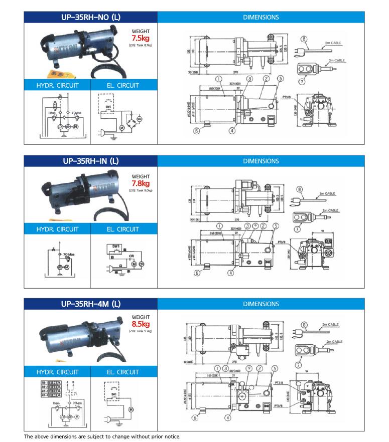 DAEHA 1/3 HP Electric Pumps UP-35RH-1MB, UP-35RH-NC, UP-35RH-NO, UP-35RH-IN, UP-35RH-4M 1