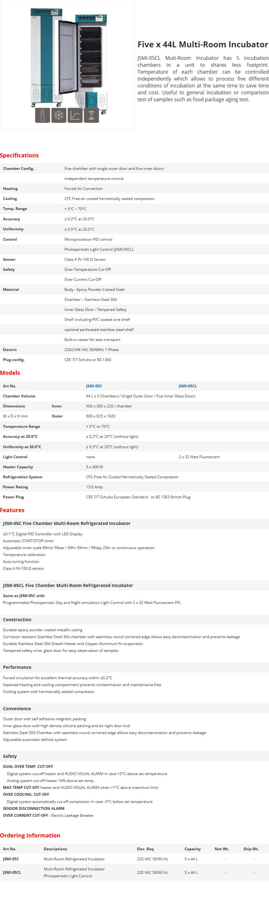 JS Research Five x 44L Multi-Room Incubator JSMI-05C/05CL