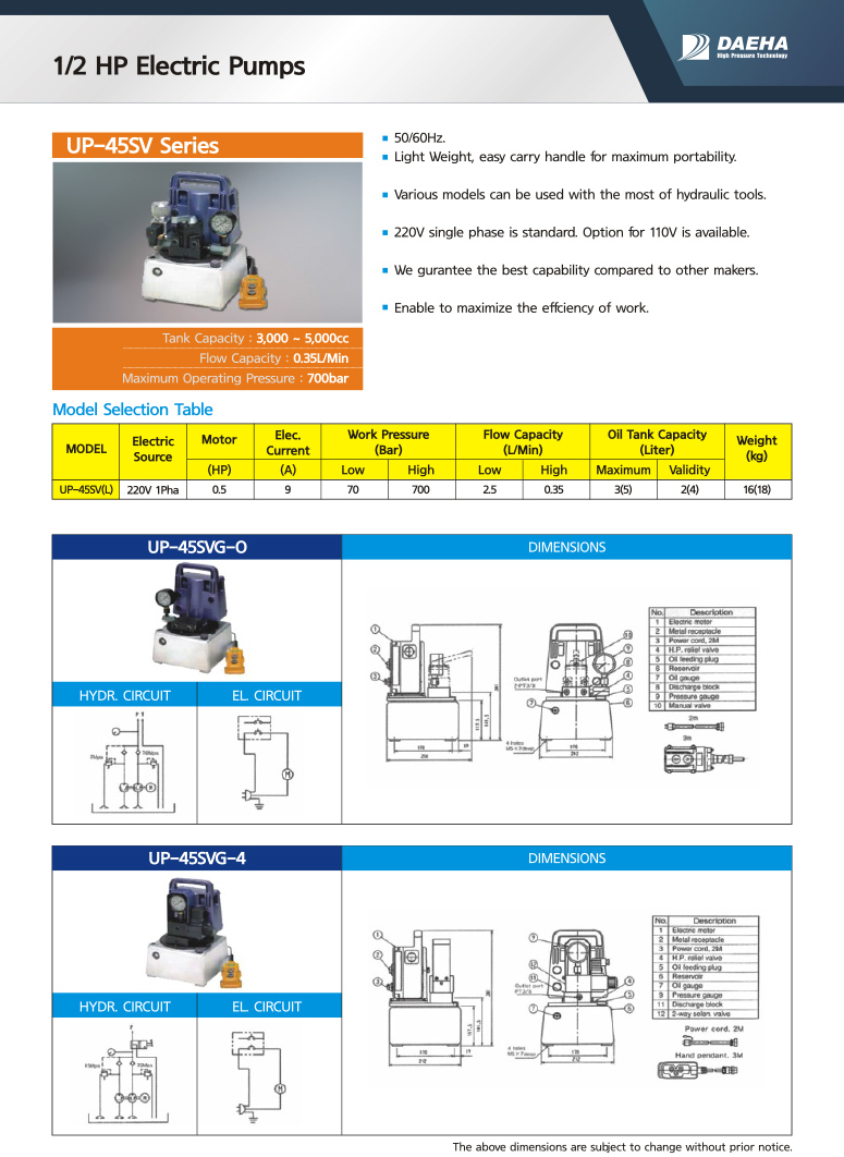 DAEHA 1/2 HP Electric Pumps UP-45SV-O, UP-45SV-4, UP-45SV-1, UP-45SV-7, UP-45SV-8SP, UP-45SV-8WP, UP-45SV-8R, UP-45SV-8H, UP-45SV-8A