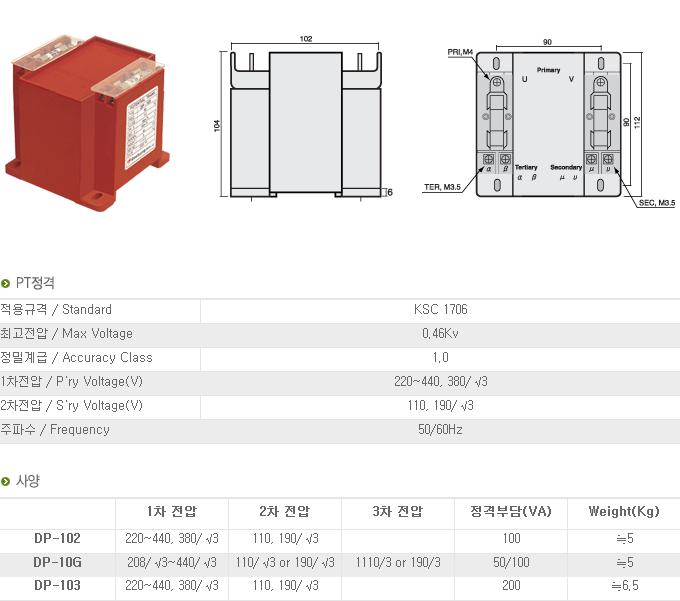 (주)대붕이앤씨 계기용 변압기 DP-Series 4