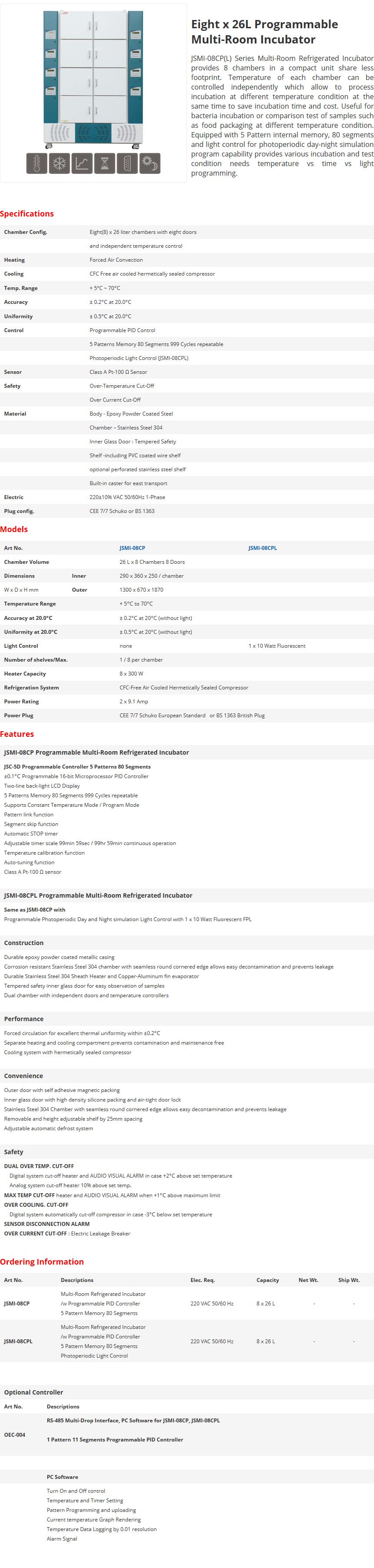 JS Research Eight x 26L Programmable Multi-Room Incubator JSMI-08CP/08CPL