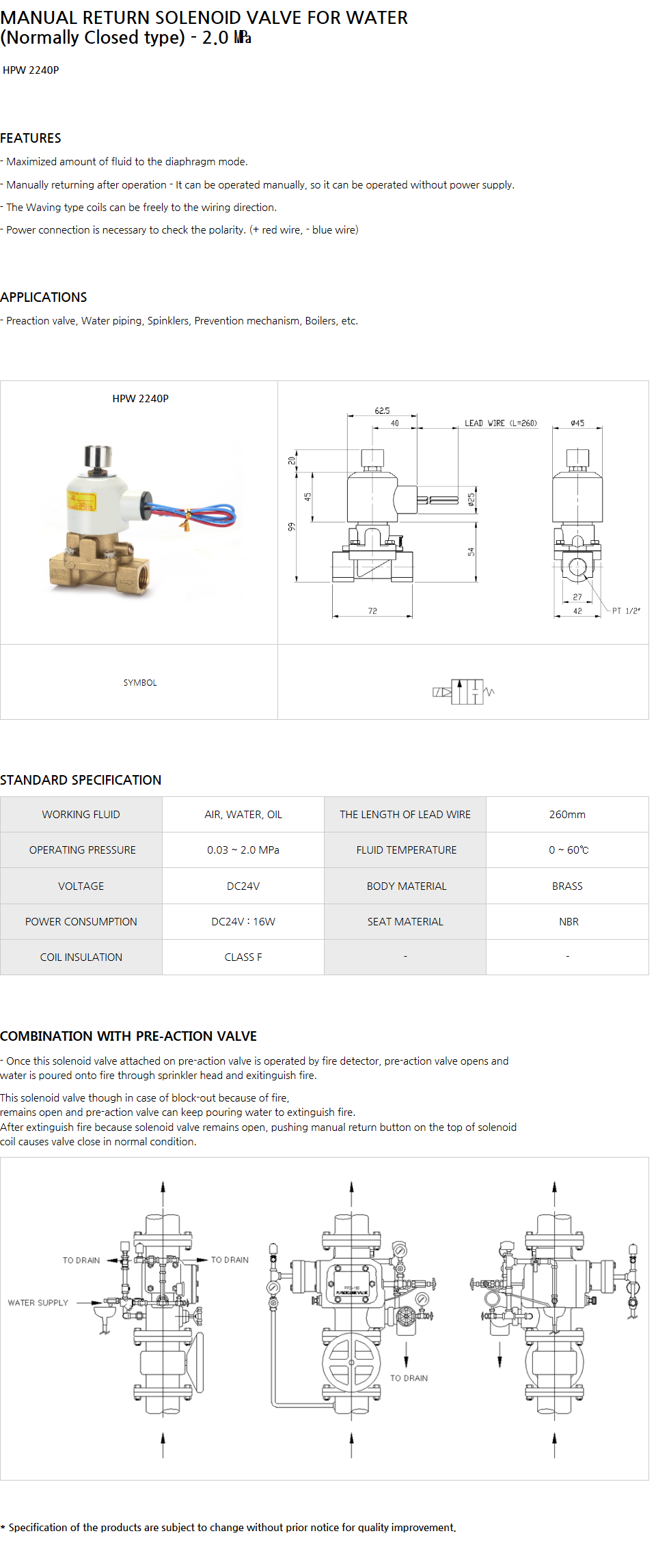 HYOSHIN MECHATRONICS Manual Return Solenoid Valve For Water (N.C) HPW 2240P