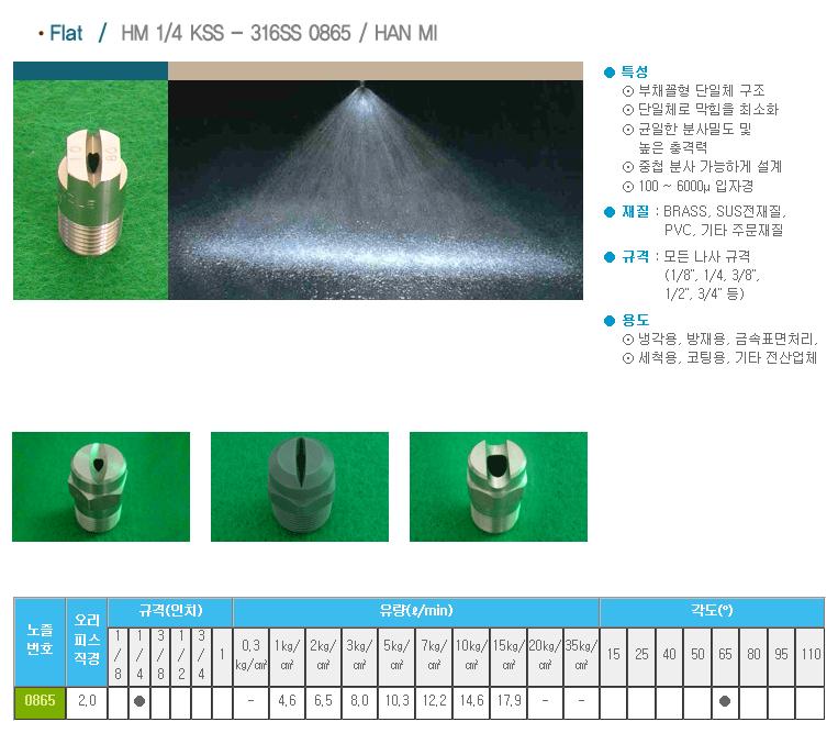 (주)한미노즐ENG  HM 1/4 KSS - 316SS 0865 / HAN MI