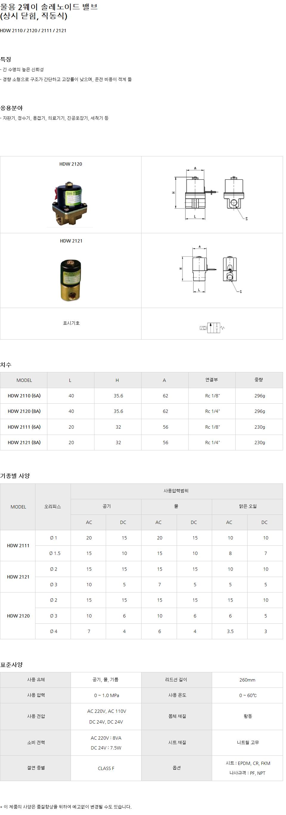 (주)효신 물용 2웨이 솔레노이드 밸브 (상시닫힘, 직동식)  9