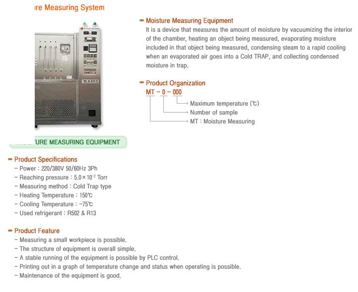 WOOSUNG VACUUM TECH - Moisture Measuring System - MT-Series - Vacuum