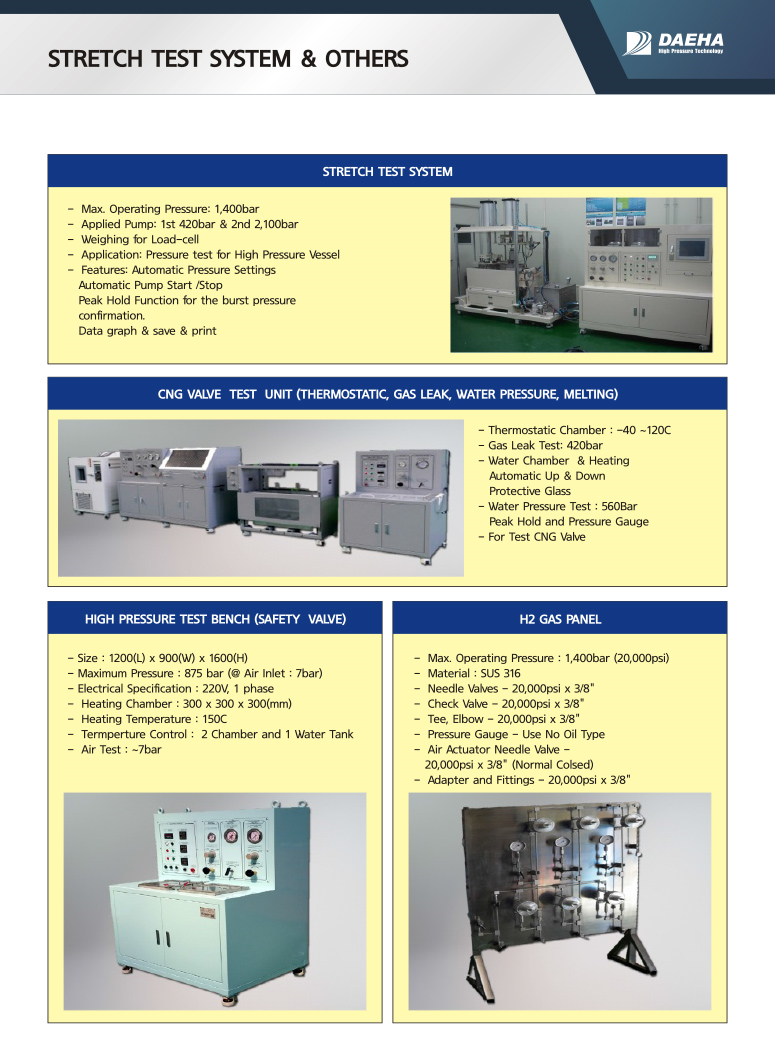 DAEHA Stretch Test System & Others
