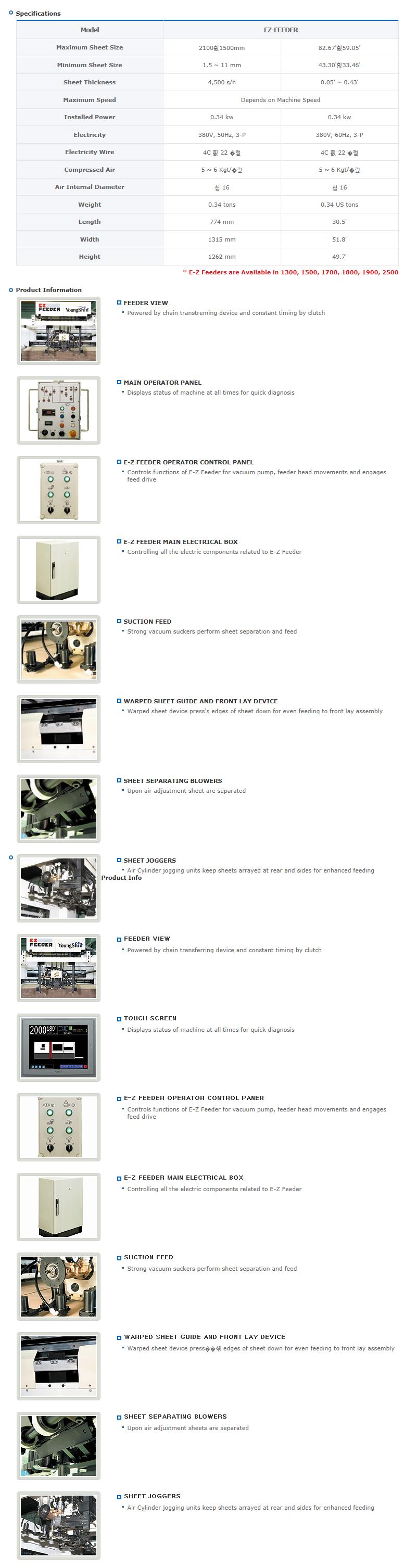 Yougnshin Machinery Semi-automatic EZ-Feeder