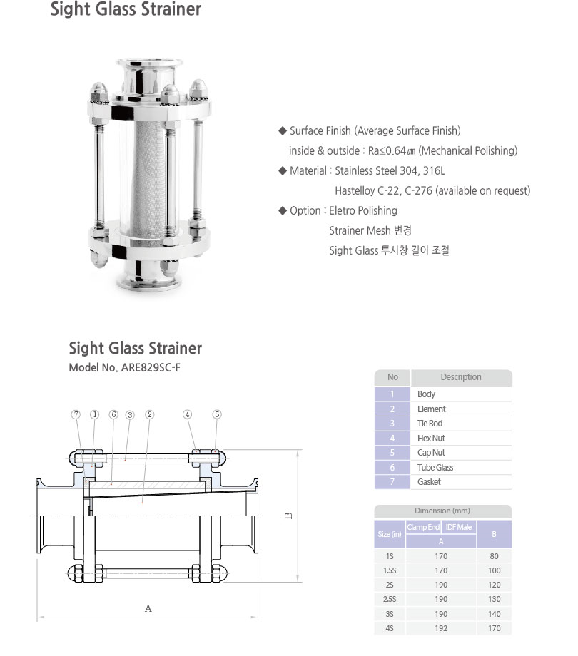 ARTSANITARY Sight Glass Strainer ARE829SC-F