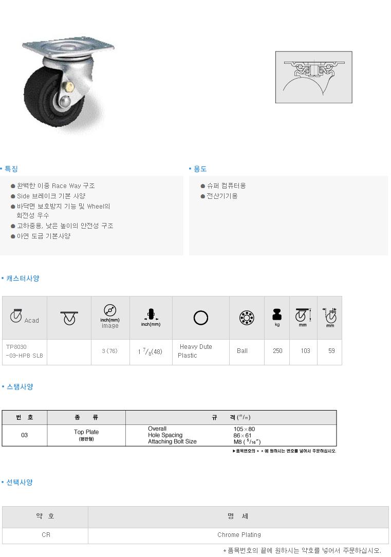(주)삼송캐스터  TP8030 1