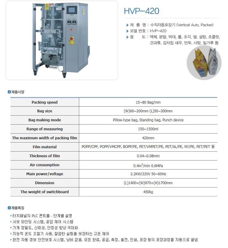 한샘테크 버티칼 자동포장기 HVP-Series 10