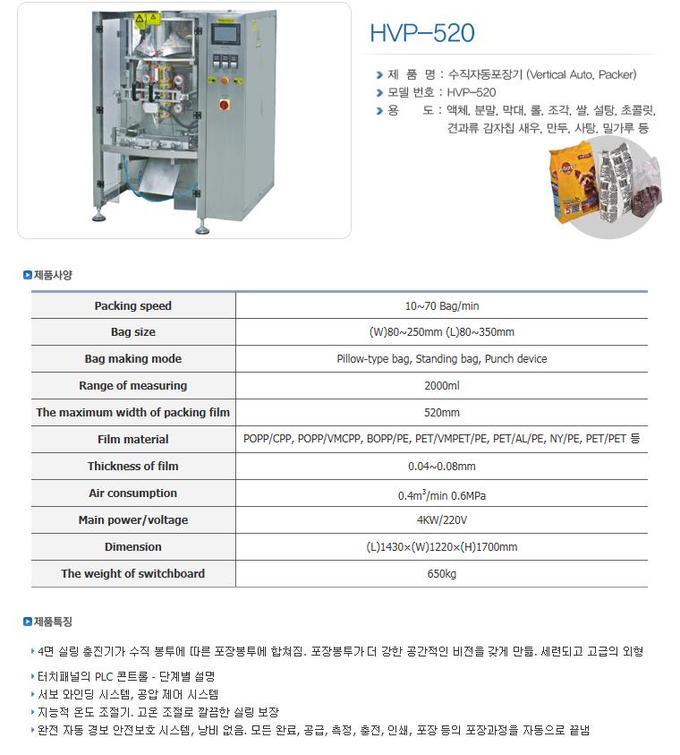 한샘테크 버티칼 자동포장기 HVP-Series 11