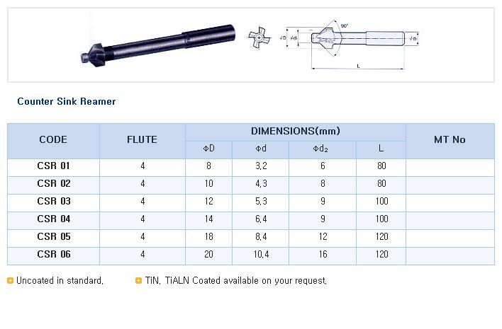 HK-TOOLS Counter Sink Reamer CSR Series