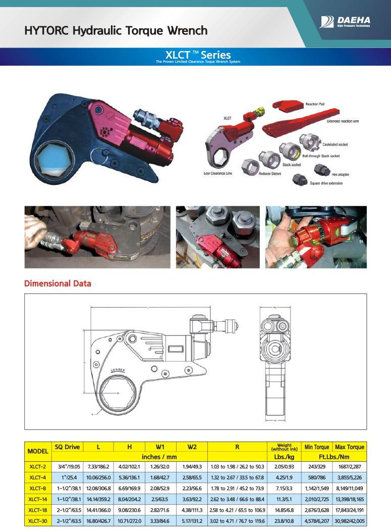 DAEHA HYTORC Hydraulic Torque Wrench XLCT-2, XLCT-4, XLCT-8, XLCT-14, XLCT-18, XLCT-30