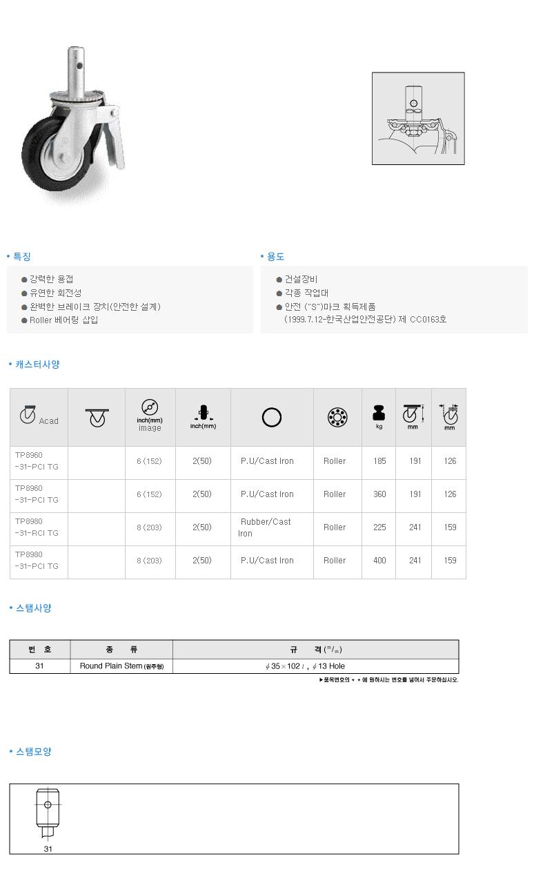 (주)삼송캐스터  TP8900 1