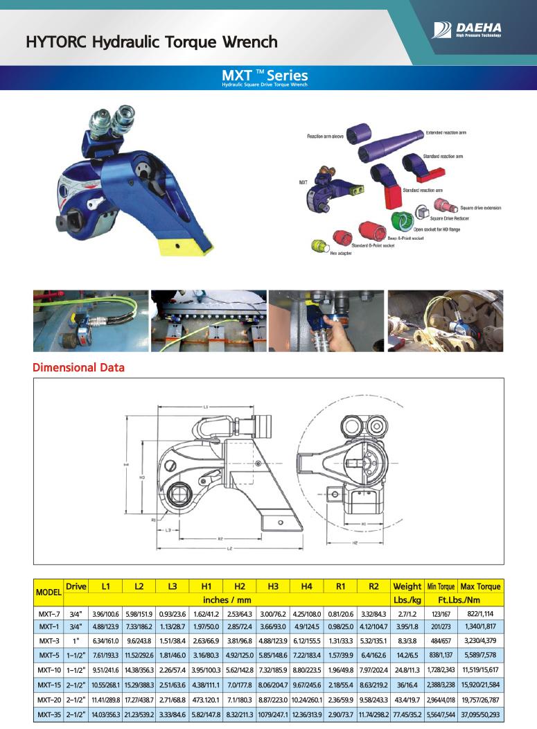 DAEHA HYTORC Hydraulic Torque Wrench MXT-7, MXT-1, MXT-3, MXT-5, MXT-10, MXT-15, MXT-20, MXT-35