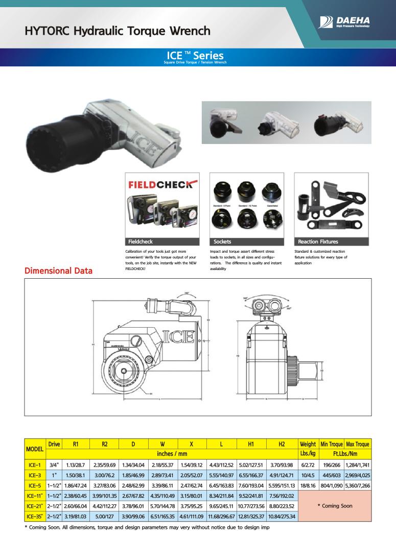 DAEHA HYTORC Hydraulic Torque Wrench ICE-1, ICE-3, ICE-5, ICE-11, ICE-21, ICE-35