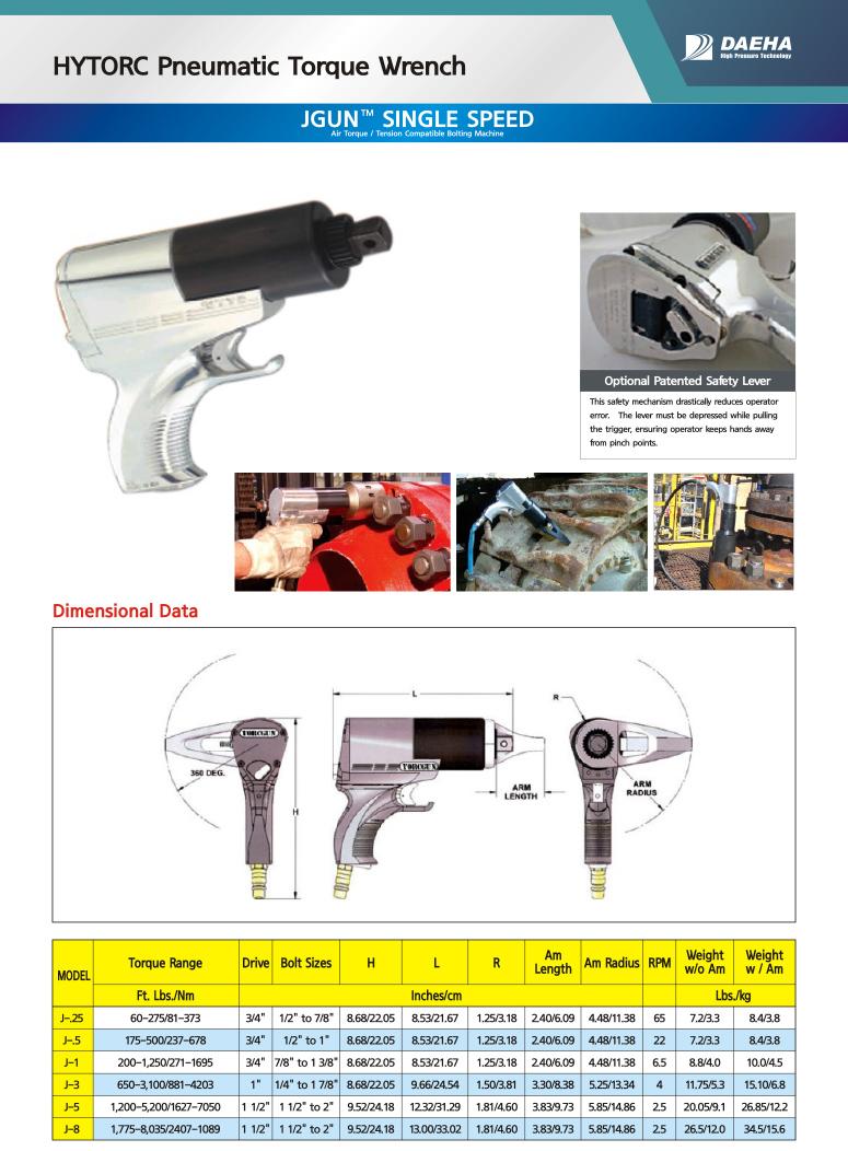 DAEHA HYTORC Pneumatic Torque Wrench J-25, J-5, J-1, J-3, J-8