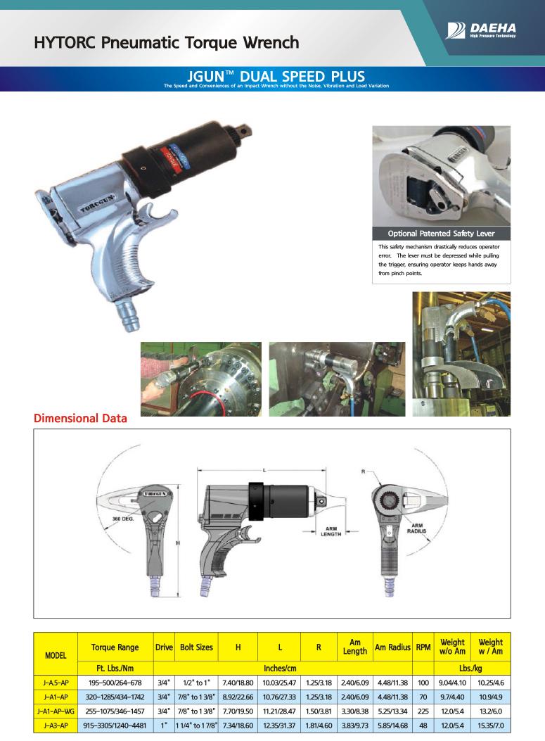 DAEHA HYTORC Pneumatic Torque Wrench J-A5-AP, J-A1-AP, J-A1-AP-WG, J-A3-AP