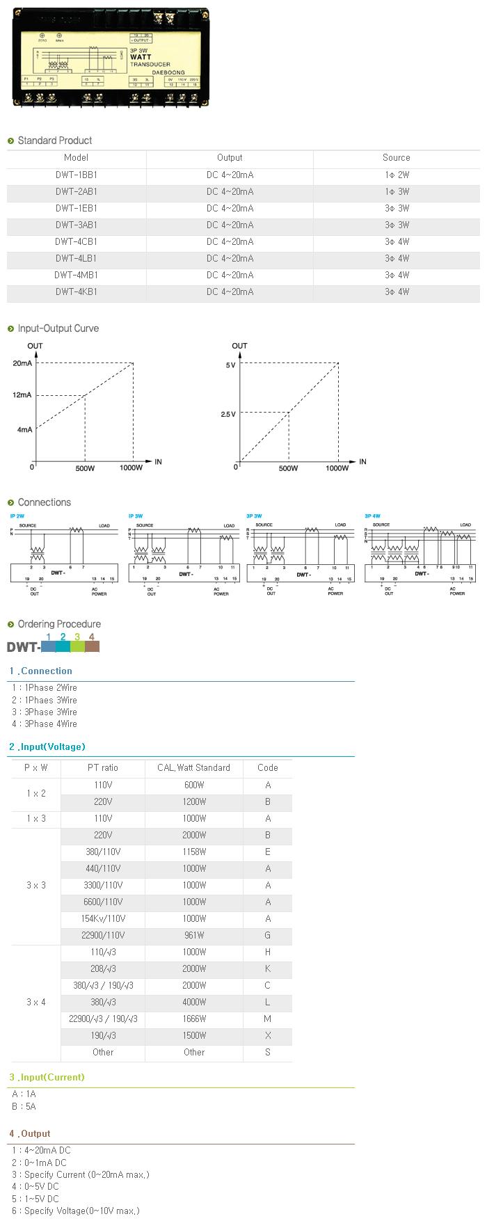 Dae-Boong Electric Watt Transducer DWT-Series