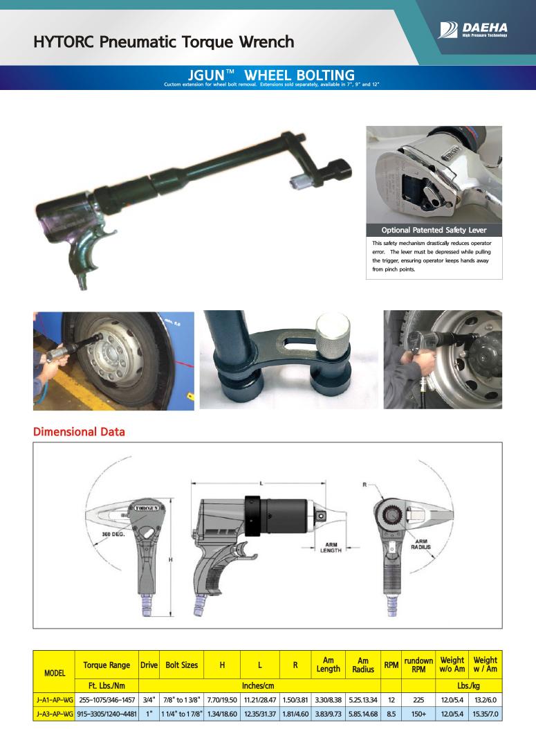 DAEHA HYTORC Pneumatic Torque Wrench J-A1/A3-AP-WG
