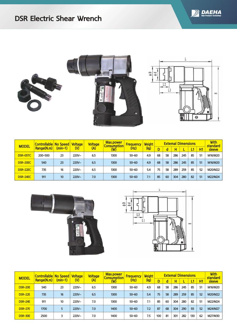 DAEHA Electric Shear Wrench DSR-05TC, DSR-20EC, DSR-22EC, DSR-24EC, DSR-20E, DSR-22E, DSR-24E, DSR-27E, DSR-30E