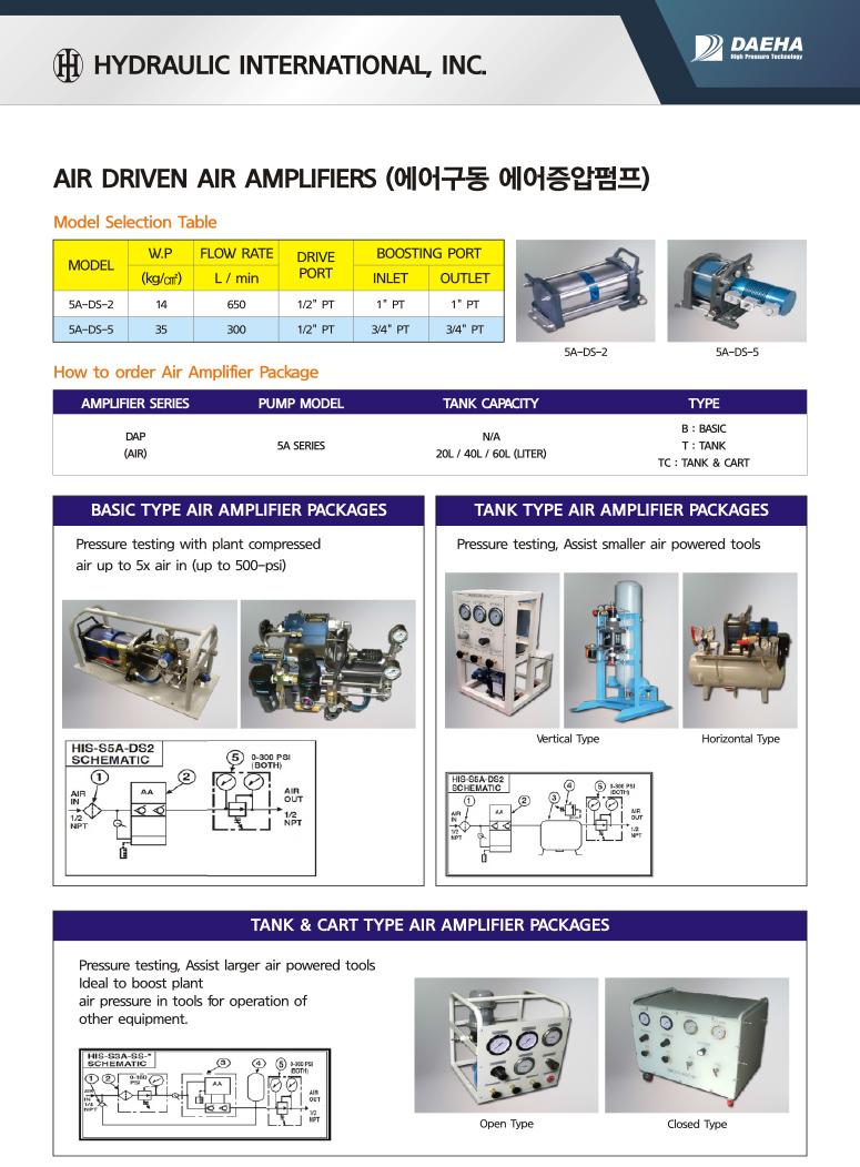 (주)대하 에어구동 에어증압펌프 SA-DS-2/5