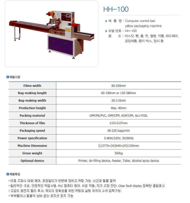 한샘테크 Pillow Packing Machine HH-Series 5
