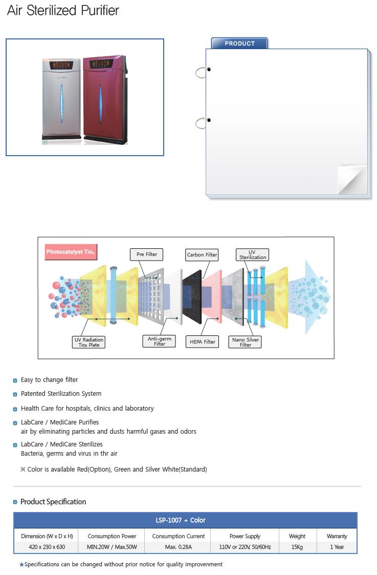 LABTECH Air Sterilized Purifier LSP-1007