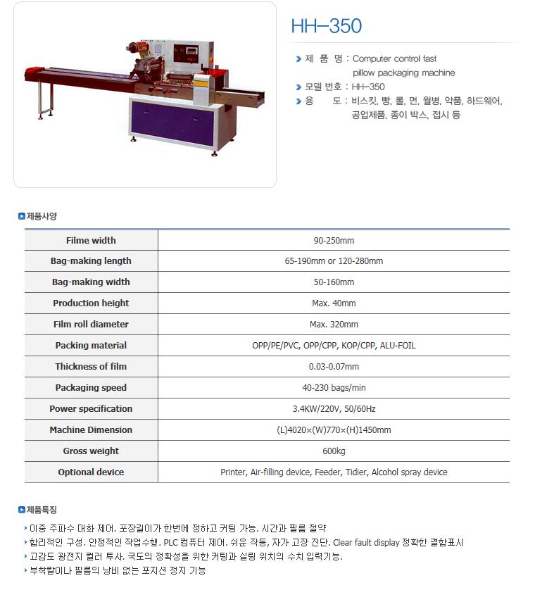 한샘테크 Pillow Packing Machine HH-Series 6